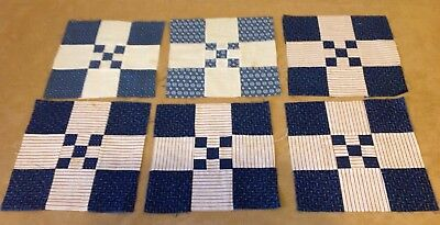 Six Antique Patchwork Quilt Blocks, Early Fabrics, Nine Patch, Navy Blue, Red