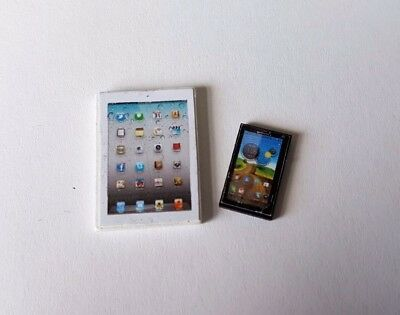 Mobile phone OR tablet for 1:12th scale dolls house miniature ipad modern UK