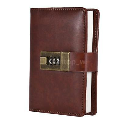 A7 PU Leather Vintage Diary Planner Notebook Lock POCKET SIZE JOURNAL Book K7O4