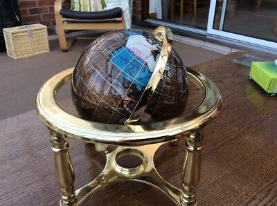 Globe With Semi Precious Stones On Brass Stand