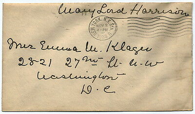 US Presidential Widow Mary Lord Harrison Free Frank Cover (004)