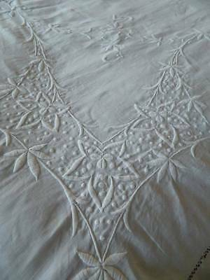 Antique large white Irish linen bedspread superb raised hand worked embroidery