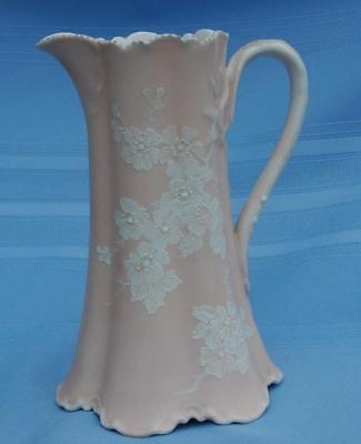 Haviland Limoges France Antique H&Co Pitcher 1890's Rare Peach Floral 7 3/4""