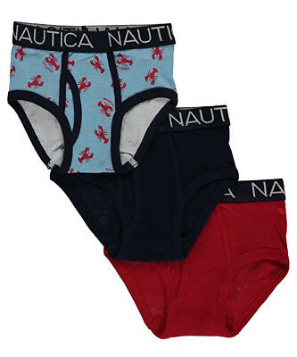 Nautica Toddler Boy's Briefs 3-Pack Bold & Crabby Underwear Cotton