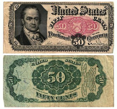 1874-76 50 CENT U.S. Fractional Currency Note 5th Issue CRAWFORD FR#1381 FINE