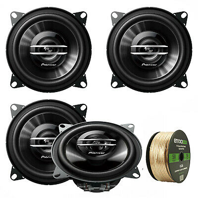 "4X Polk Audio 4"" 135W Black Coaxial Speakers, Enrock 14 AWG Gauge 50' Wire"