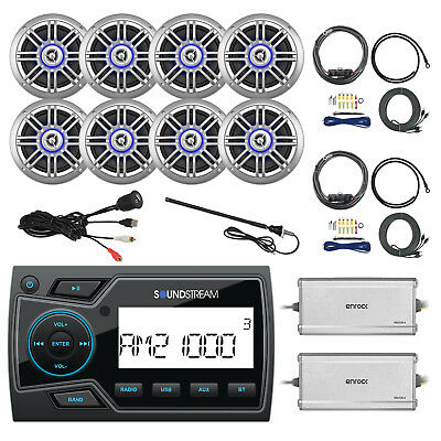"USB Bluetooth Radio, 8x 6.5"" Speakers, 2x Amp w/ 2x Kits, 2x Antenna, USB Mount"