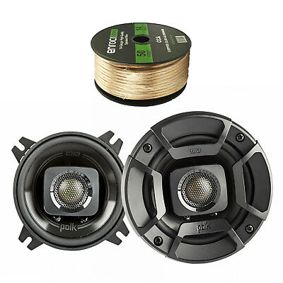 "2X Polk Audio 4"" 135W Coaxial Speakers Black, Enrock 14 AWG Gauge 50' Wire"