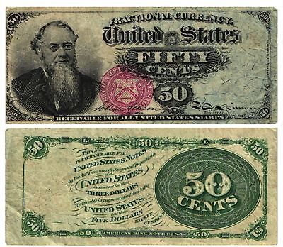 1869-75 50 CENT U S Fractional Currency Note 4th Issue E. STANTON Fr#1376 FINE-