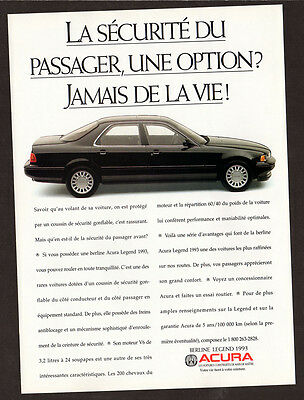 1993 ACURA Legend Sedan Original Print AD - Black car photo, french canadian ad