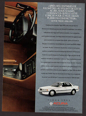 1991 ACURA 1992 Vigo Original Print AD - White car photo dashboard French canada