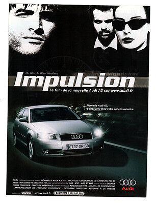 2003 AUDI A3 Original Print AD - Impulsion poster movie by Wim Wenders French