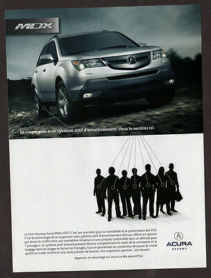 2007 ACURA MDX Original Print AD - Silver car photo, french canadian ad