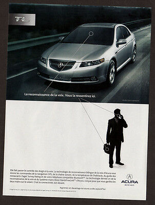 2007 ACURA TL Original Print AD - Silver car photo, french canadian ad