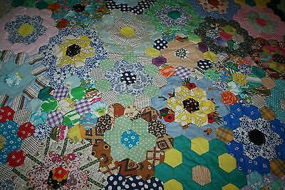 Vintage Hand Sewn Hexagon Patchwork Throw/Cover Unfinished Floral Shabby Chic