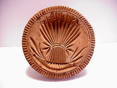 Antique Carved Wood Sheaf Of Wheat Butter Print Stamp
