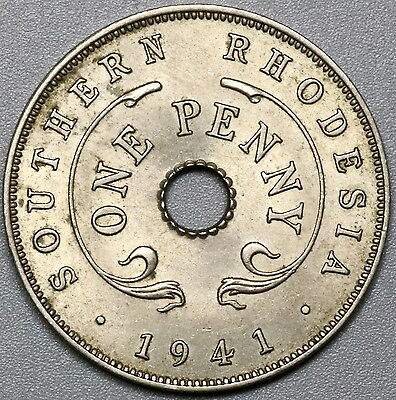 1941 Southern Rhodesia Penny Britain Empire Coin (17033010R)