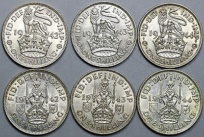 1942 1943 1944 Silver Shilling English & Scottish Crest SIX Coins (17041606R)