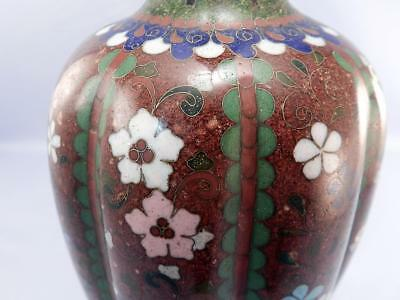 Antique Meiji Period Japanese Cloisonne Lamp~Ribbed~Fine Red Iridescent~Floral