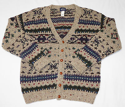 Woolrich Men's Button Front Cardigan Sweater Size Large Multi Color 100% Wool