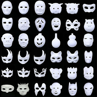 CHIC DIY Unpainted New Fashion White Blank Masquerade Paper Pulp Costume Masks