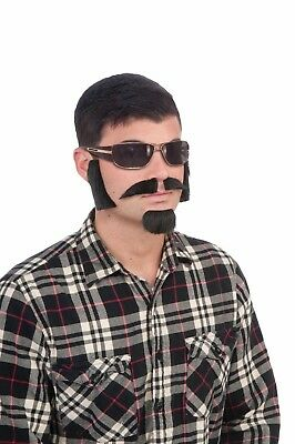 Brown Facial Hair Costume Kit With Sideburns, Mustache, And Goatee One Size
