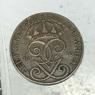 SWEDEN 1910 2 Ore coin excellent condition