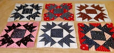 Six Antique Patchwork Quilt Blocks, Early Fabrics, Bear Paw, Black, Red, Pink