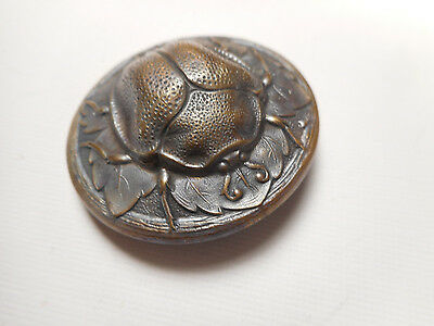 Large Beetle on a Leaf Bug Insect Brass Antique Vintage Button 1-7/16""