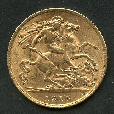 Great Britain 1915  Gold Half Sovereign Contains .1177  Ounces Of Pure Gold