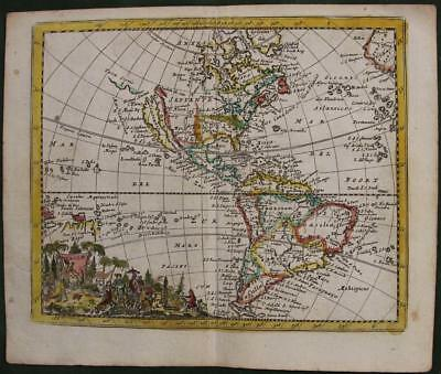 American Continent 1692 Jacques Peteers Unusual Antique Copper Engraved Map