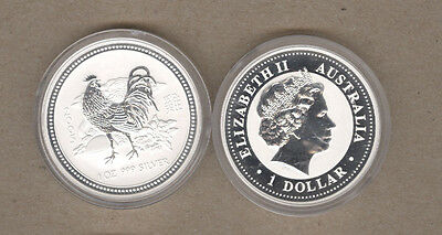 2005 Australia Lunar Series One Ounce Silver Year Of The Rooster Coin