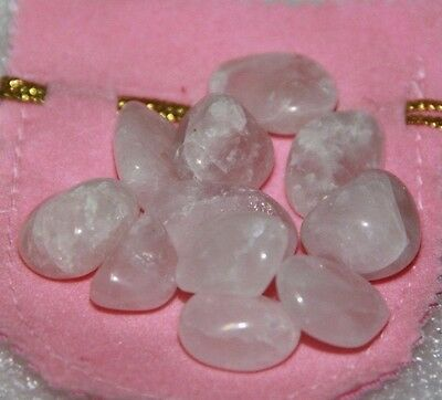 X100 CRYSTALS 10 BAGS OF ROSE QUARTZ LOVE CRYSTALS IN PINK BAGS bulk lot 'love""