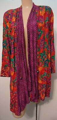 NOS Carole Little Purple Orange Metallic Gold Open Rayon Jacket Vtg 90s 14 USA