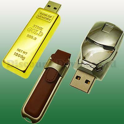 8GB Iron Man Gold Silver  Flash Pen Drive USB Memory Stick