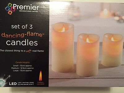 Set of 3 Battery Operated Dancing Flame Candles in Cream