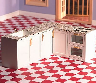 All-In-One L Shape Kitchen Set White / Gold Handles 12th Scale for Dolls House