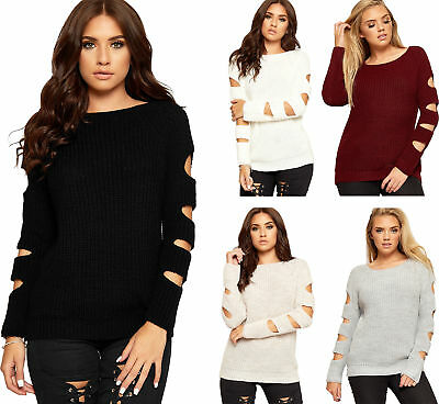 Womens Cut Out Cold Shoulder Long Hole Sleeve Ladies Cable Knitted Jumper