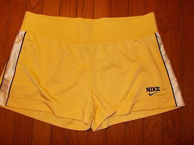 NWOT Nike Women's Dri-Fit Mesh Yellow Athletic Workout Running Shorts Size L