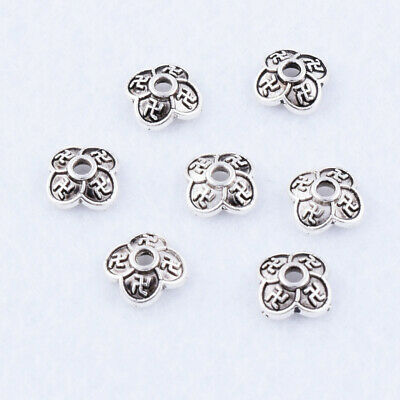 Wholesale 7x2mm Tibetan Silver Bead Caps Small Flower Jewelry End Bead Findings