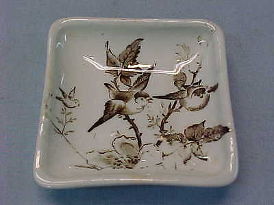 "Antique Square Brown Transferware Butter Pat with Birds 2 5/8"" Wide  #154"
