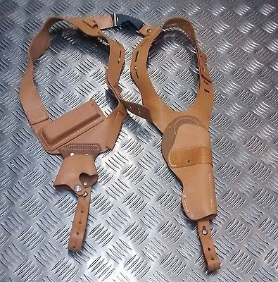 Genuine NATO Forces / Police Issue Shoulder Harness Holster Rig Brown Leather