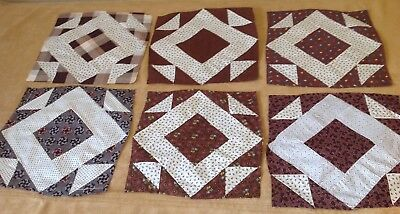 Six Antique Patchwork Quilt Blocks, Early Fabrics, Hole In The Barn Door, Brown