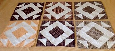Six Antique Patchwork Quilt Blocks, Early Brown Fabrics, Hole In The Barn Door