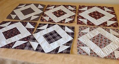 Six Antique Patchwork Quilt Blocks, Brown Early Fabrics, Hole In The Barn Door