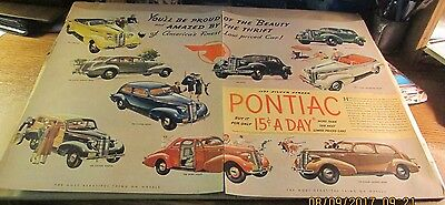 Old Automobile Ad[Orig.]-<1937>--PONTIAC--<1937 CAR MODELS>-- (2 Pages)