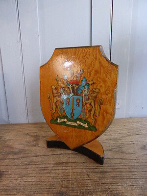Antique vintage wooden plaque - Cheshire coat of arms crest on stand