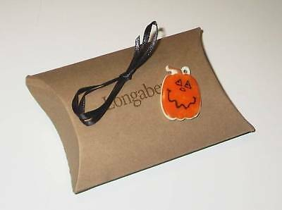 Longaberger Rare Happy Halloween Small PUMPKIN Pottery Tie-On  - New in Box