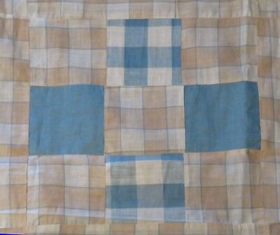Large Vintage Finished Blue and Tan Quilt Top Soft Colors Feedsack Fabric? EXC!