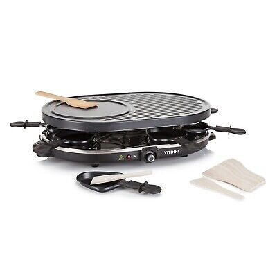 Vitinni Raclette Party Grill with Crepe & Pancake Plate Griddle Set